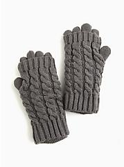 Charcoal Grey Knit Layered Gloves, , alternate