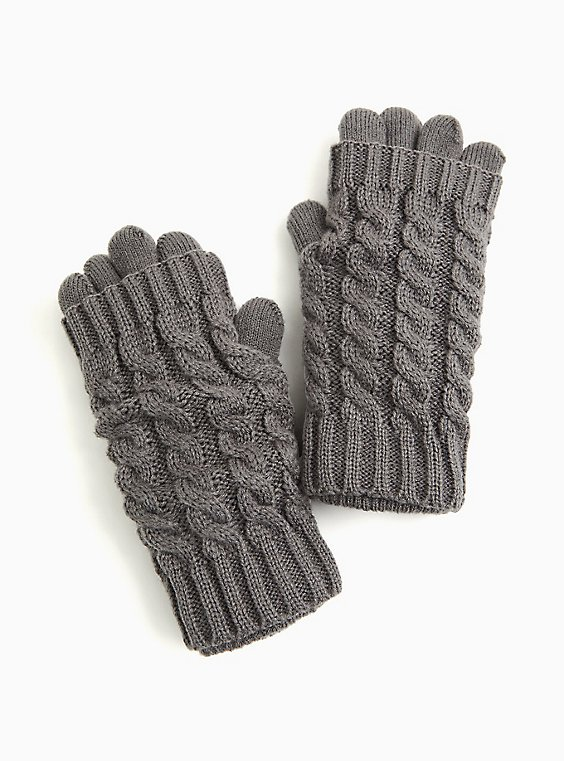 Charcoal Grey Knit Layered Gloves, , hi-res