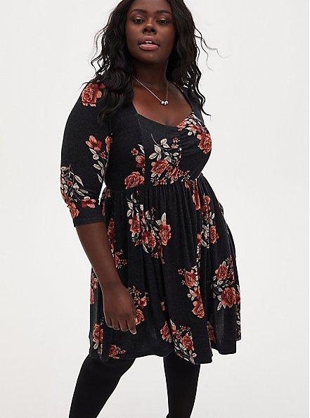 Super Soft Plush Black Floral Skater Dress, FLORALS-BLACK, alternate