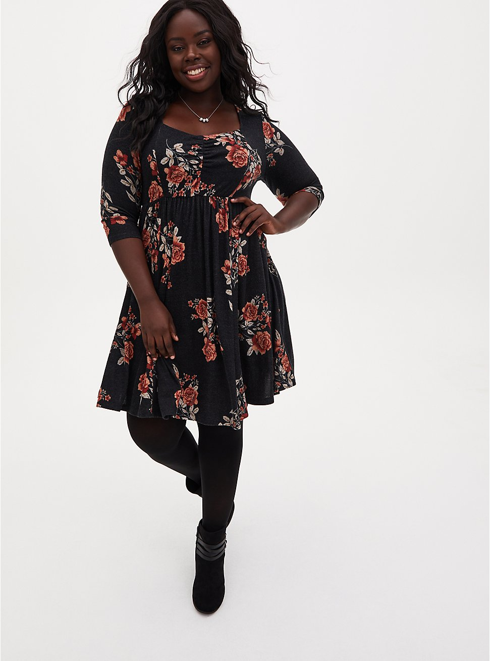 Super Soft Plush Black Floral Skater Dress, FLORALS-BLACK, hi-res