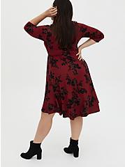 Red & Black Floral Ponte Skater Dress, FLORALS-RED, alternate