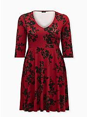 Red & Black Floral Ponte Skater Dress, FLORALS-RED, hi-res