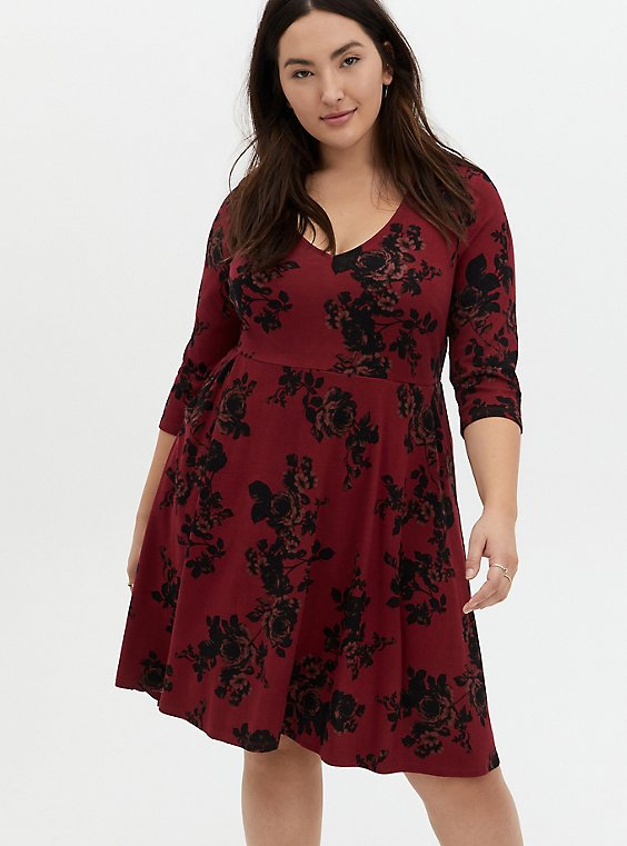 Red & Black Floral Ponte Skater Dress, , hi-res