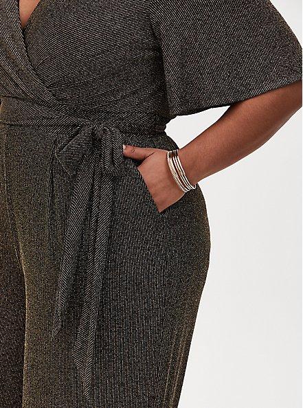Black & Gold Shimmer Stripe Surplice Jumpsuit, BLACK GOLD, alternate