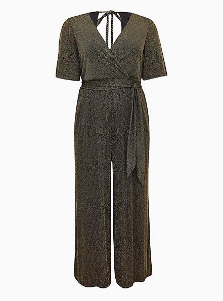 Black & Gold Shimmer Stripe Surplice Jumpsuit, BLACK GOLD, hi-res