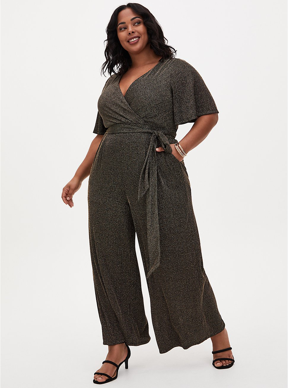 Black & Gold Shimmer Stripe Surplice Jumpsuit, BLACK GOLD, hi-res