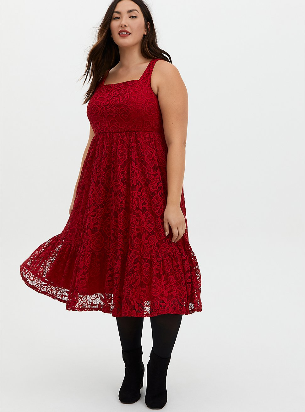 Red Lace Square Neck Midi Skater Dress, JESTER RED, hi-res