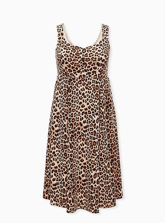 Leopard Sweetheart Skater Midi Dress, , flat