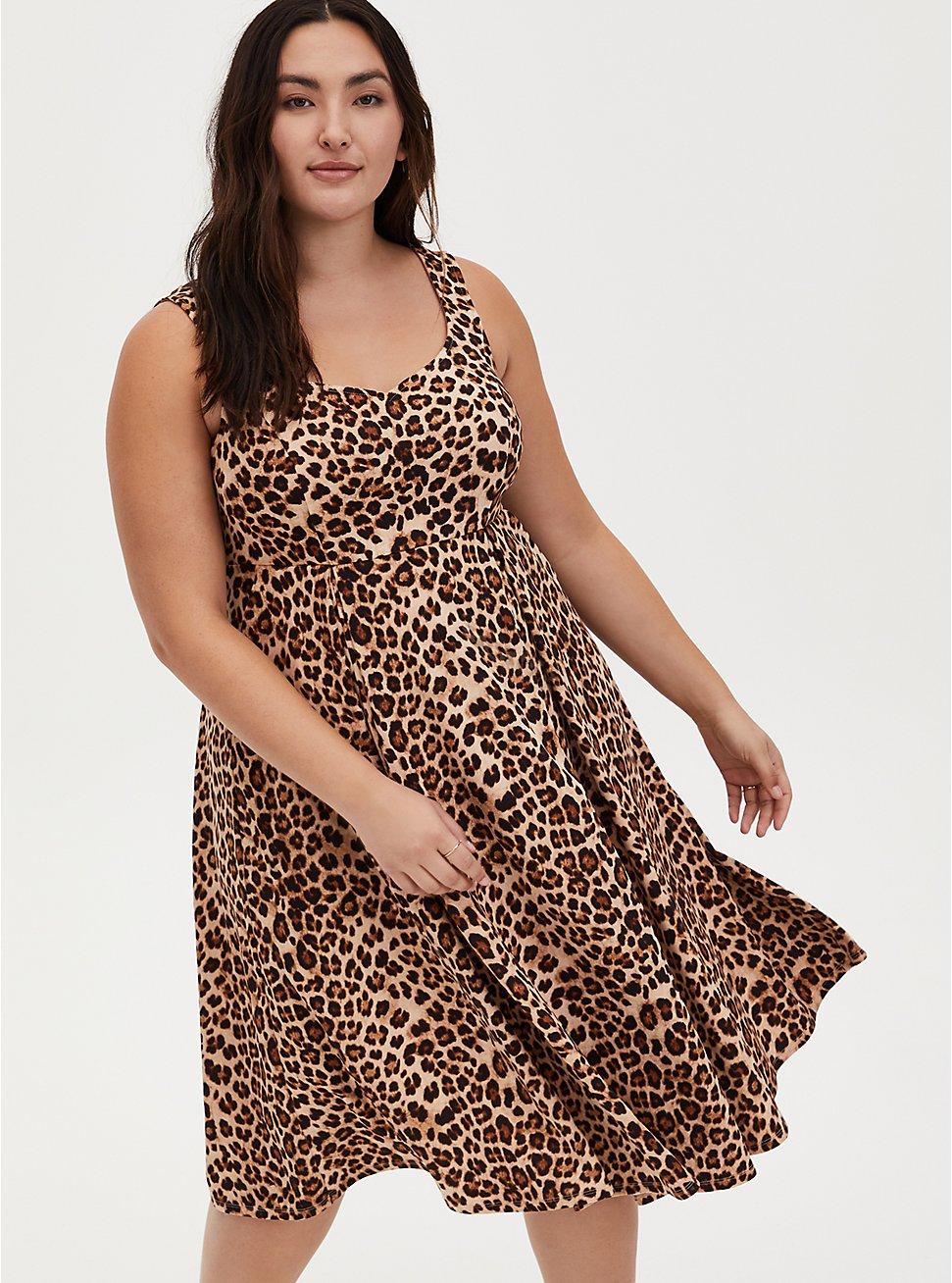 Leopard Sweetheart Skater Midi Dress, LEOPARD, hi-res
