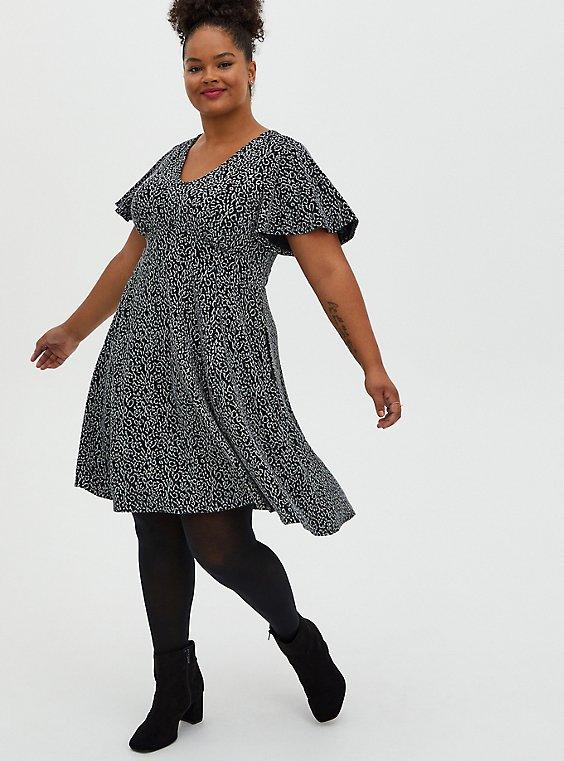 Glitter Leopard Flutter Sleeve Skater Dress, LEOPARD - BLACK, hi-res