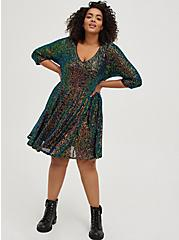 Multi Sequin Skater Dress, MULTI, alternate