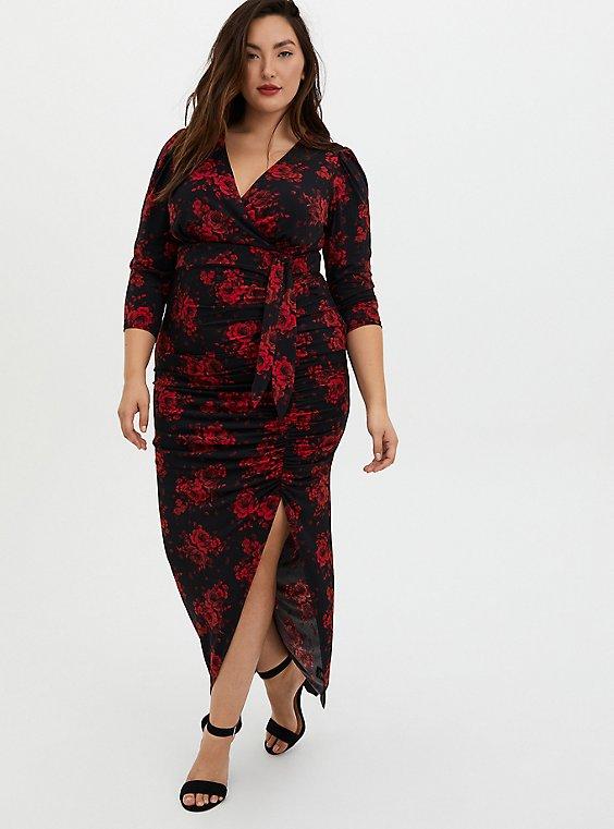 Black Floral Wrap Maxi Dress with Slit, FLORALS-RED, hi-res
