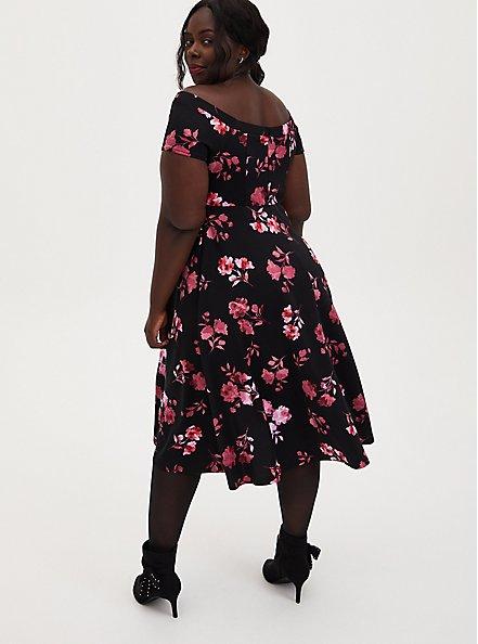 Black Floral Scuba Knit Off The Shoulder Midi Skater Dress, FLORALS-BLACK, alternate