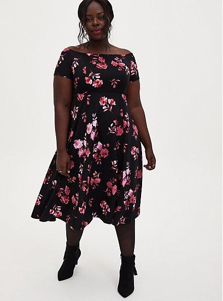 Black Floral Scuba Knit Off The Shoulder Midi Skater Dress, FLORALS-BLACK, hi-res