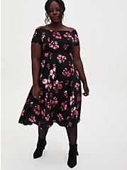 Black Floral Scuba Knit Off The Shoulder Midi Skater Dress, FLORALS-BLACK, hi-res