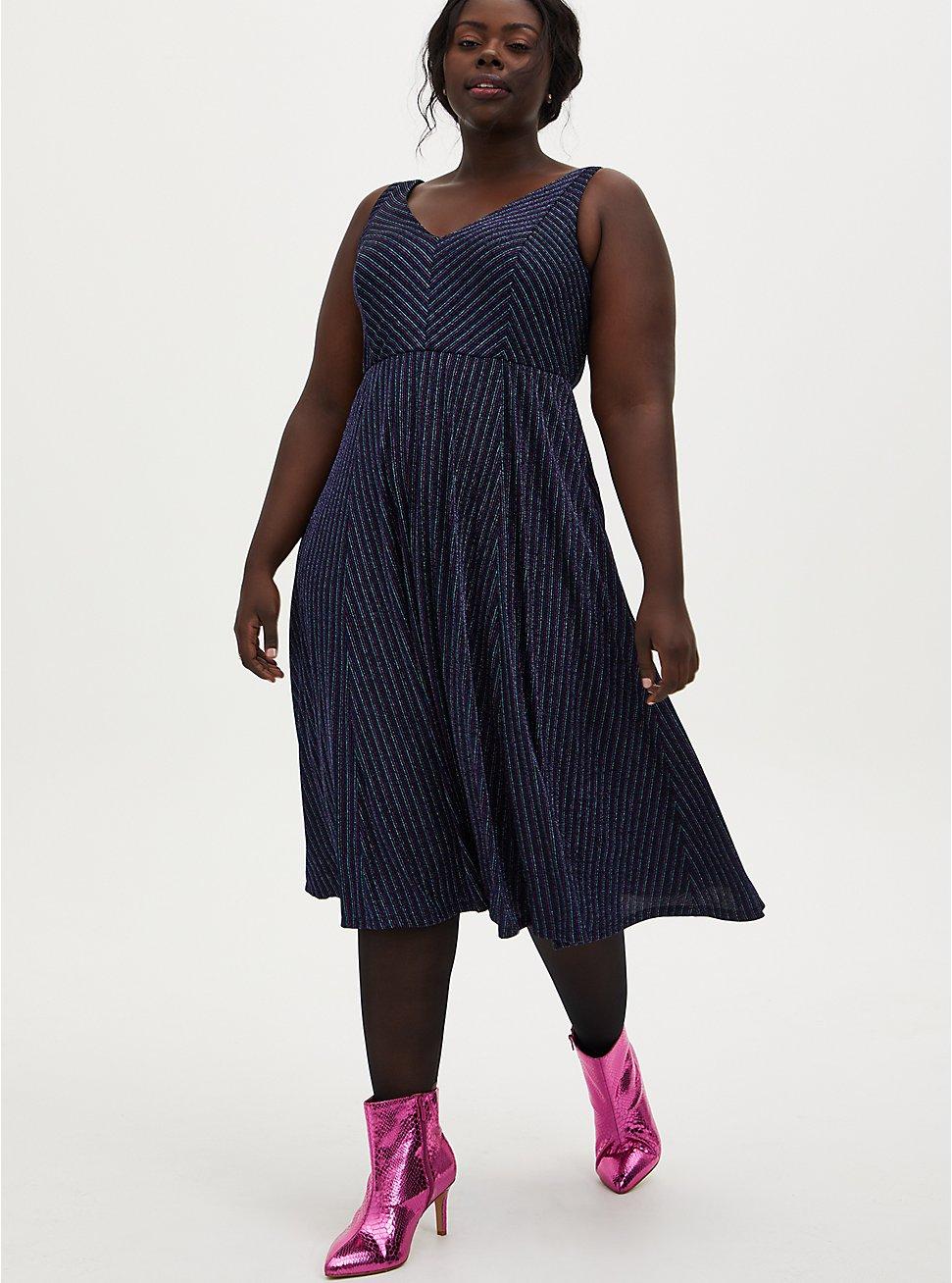 Dark Blue & Multi Stripe Shimmer Midi Skater Dress, STRIPE - BLUE, hi-res