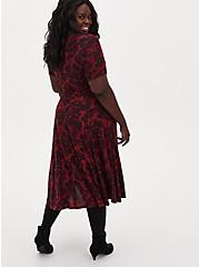 Super Soft Plush Dark Red & Black Floral Midi Dress, FLORALS-RED, alternate