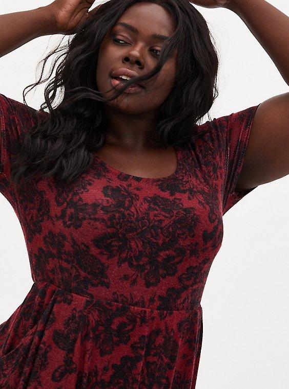 Super Soft Plush Dark Red & Black Floral Midi Dress, FLORALS-RED, hi-res