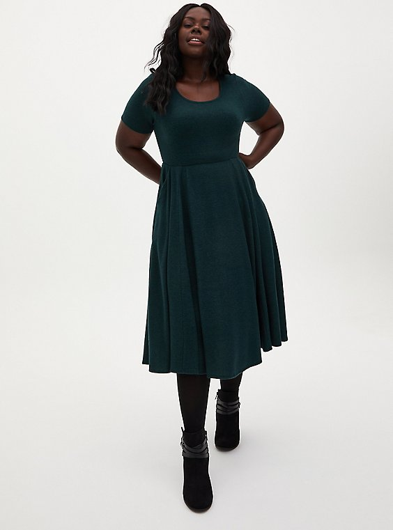 Super Soft Plush Dark Green Skater Midi Dress, , hi-res
