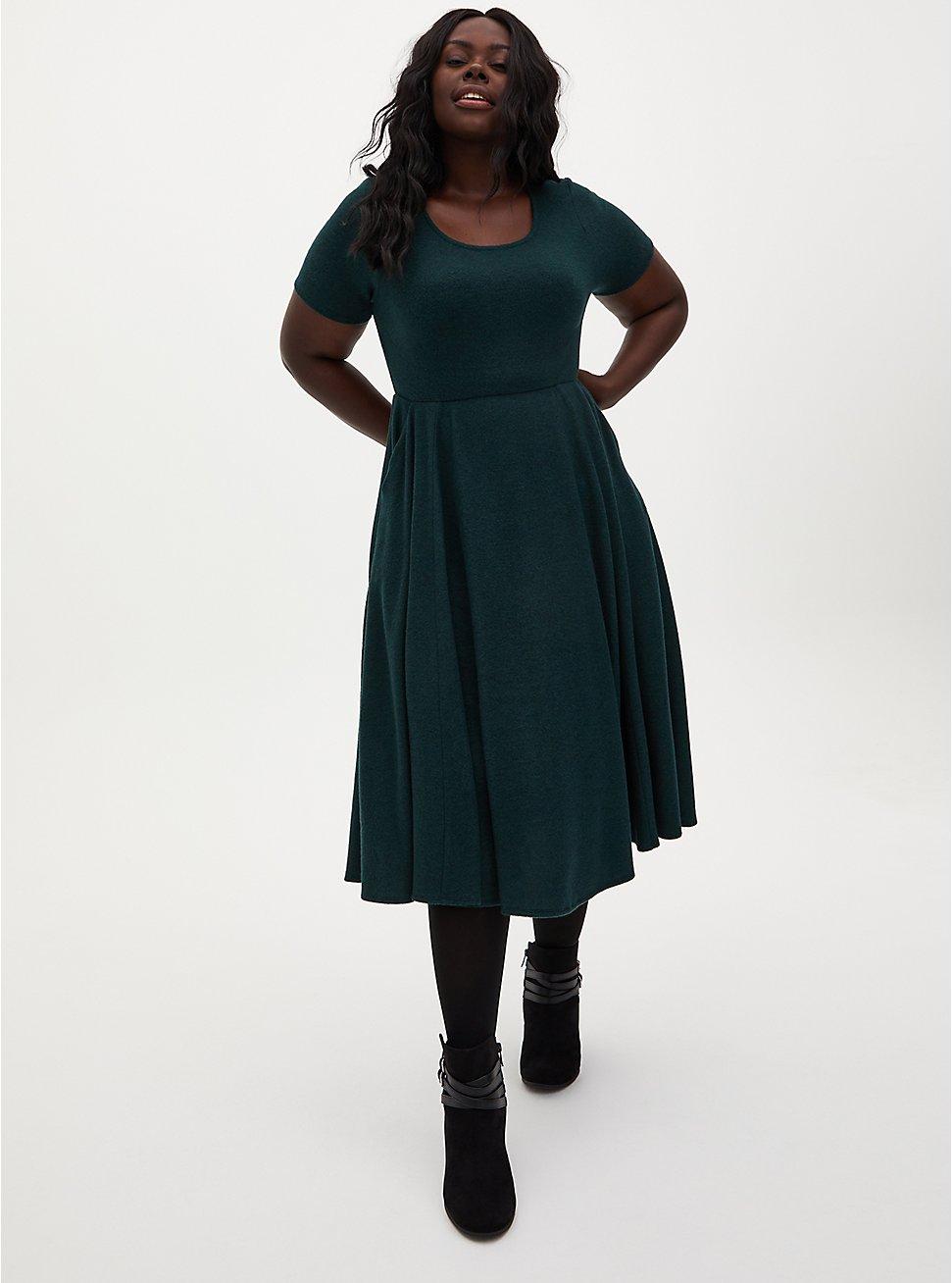 Super Soft Plush Dark Green Skater Midi Dress, GREEN GABLES, hi-res