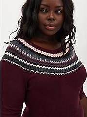 Burgundy Purple Fair Isle Sweater Knit Skater Dress, WINETASTING, alternate