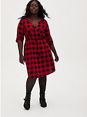 Red Plaid Challis Zip Front Shirt Dress, PLAID - RED, alternate