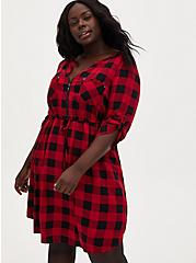 Red Plaid Challis Zip Front Shirt Dress, PLAID - RED, hi-res