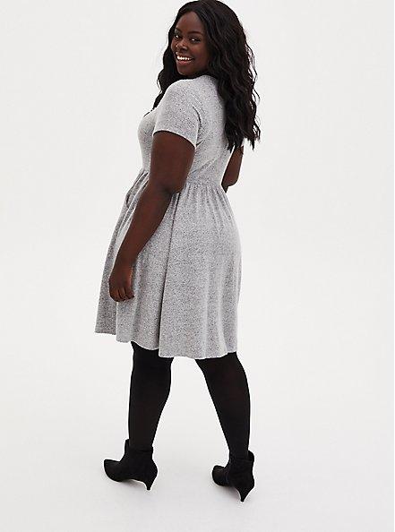 Super Soft Plush Light Grey Pearl Neck Skater Dress, HEATHER GREY, alternate