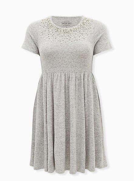 Super Soft Plush Light Grey Pearl Neck Skater Dress, HEATHER GREY, hi-res