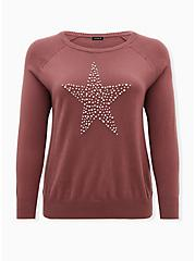 Pink Embellished Star Raglan Sweater, ROSE BROWN, hi-res