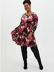 Multi Floral Crushed Velvet Skater Dress, FLORALS-BURGUNDY, alternate
