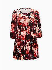 Multi Floral Crushed Velvet Skater Dress, FLORALS-BURGUNDY, hi-res