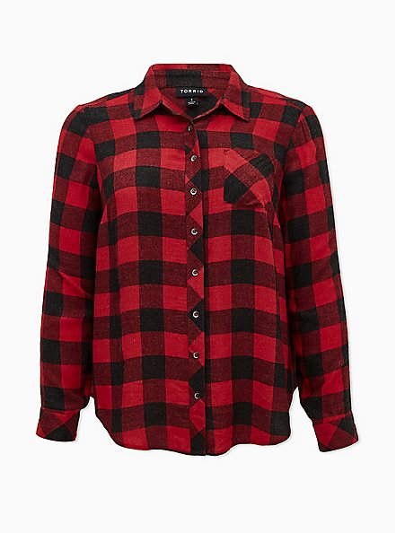 Red & Black Plaid Brushed Button Front Relaxed Fit Shirt, PLAID - RED, hi-res