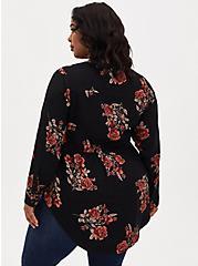 Emma - Black Floral Crinkle Gauze Babydoll Tunic, FLORAL - BLACK, alternate
