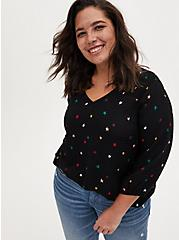 Black Star Gauze Flannel Smocked Blouse, STARS - BLACK, hi-res