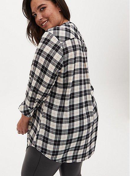 Harper - Black & White Plaid Stripe Georgette Pullover Tunic Blouse, PLAID - WHITE, alternate