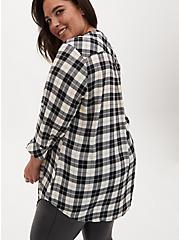 Harper - Black & White Plaid Stripe Georgette Pullover Tunic Blouse, PLAID - WHITE, alternate