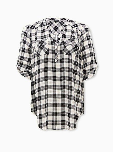 Harper - Black & White Plaid Stripe Georgette Pullover Tunic Blouse, PLAID - WHITE, hi-res