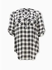 Harper - Black & White Plaid Stripe Georgette Pullover Tunic Blouse, PLAID - WHITE, hi-res