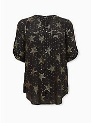 Harper - Black Star Georgette Pullover Tunic Blouse, STARS - BLACK, hi-res