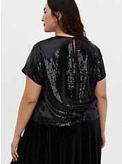 Plus Size Black Sequin Crop Top, DEEP BLACK, alternate