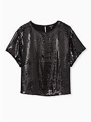 Plus Size Black Sequin Crop Top, DEEP BLACK, hi-res