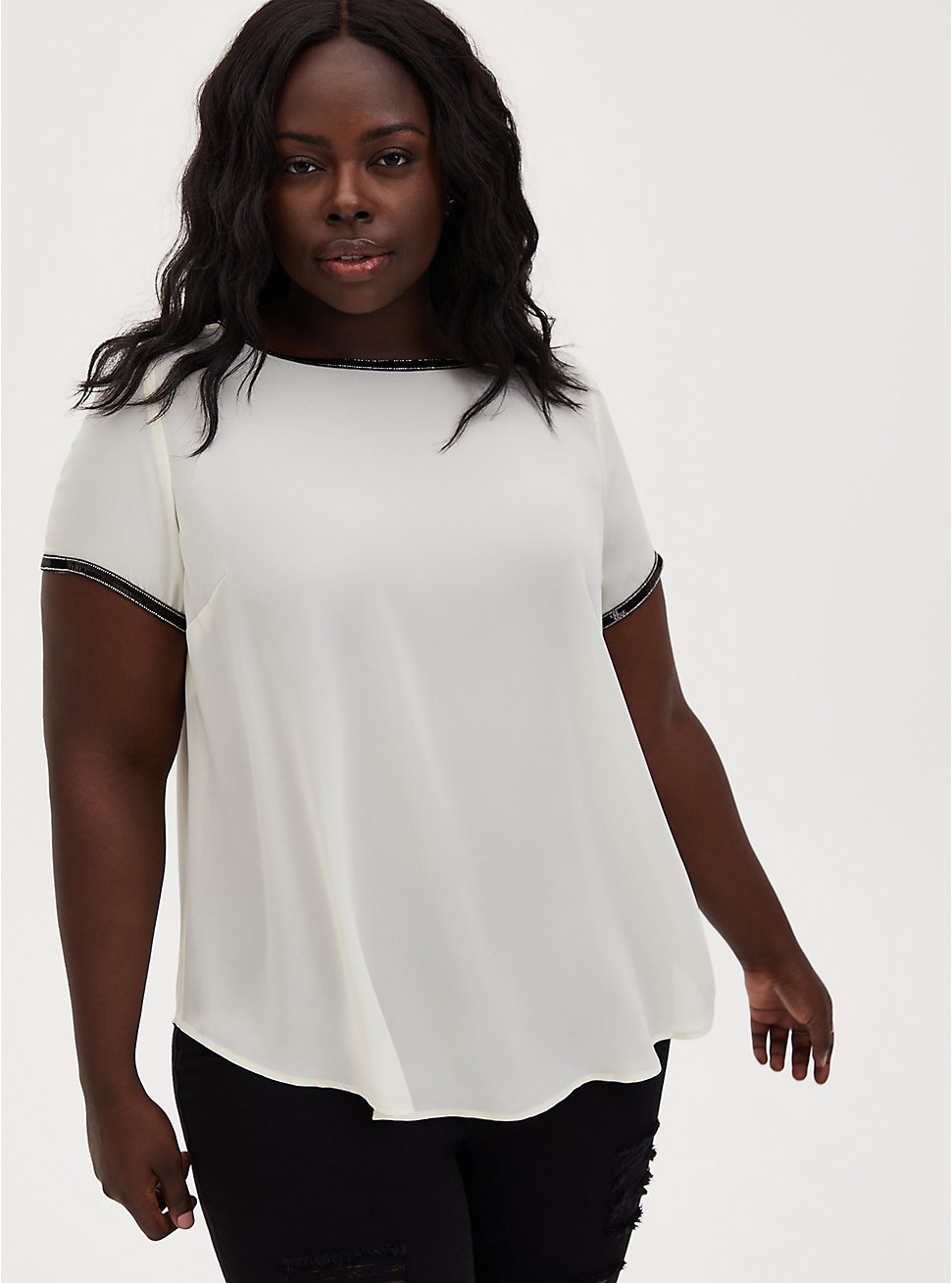 Abbey - Ivory Georgette Embellished Blouse, WINTER WHITE, hi-res
