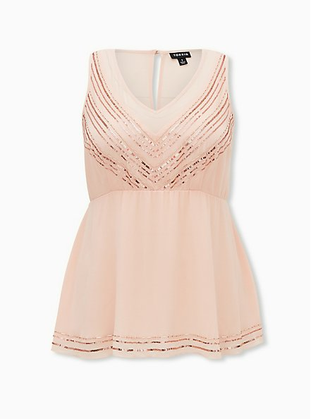 Light Pink Chiffon Embellished Stripe Peplum Top, PALE BLUSH, hi-res