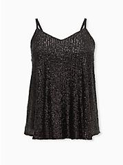 Sophie - Black Sequined Swing Cami, DEEP BLACK, hi-res