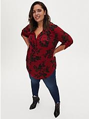 Harper - Red Floral Georgette Pullover Tunic Blouse, FLORAL - RED, alternate