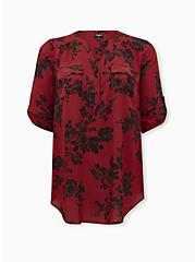 Harper - Red Floral Georgette Pullover Tunic Blouse, FLORAL - RED, hi-res