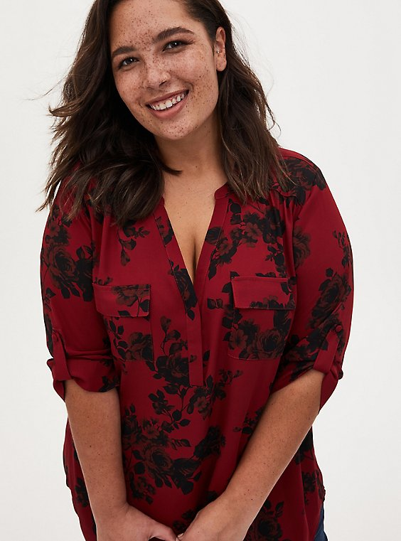 Harper - Red Floral Georgette Pullover Tunic Blouse, , hi-res