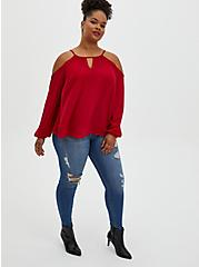 Red Georgette Cold Shoulder Blouse, JESTER RED, alternate