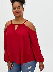 Red Georgette Cold Shoulder Blouse, JESTER RED, hi-res
